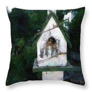 Summer Night With Birdhouse Throw Pillow