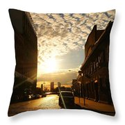 Summer Sunset Over A Cobblestone Street - New York City Throw Pillow