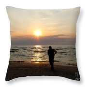 Summer Sunset Solitude Throw Pillow
