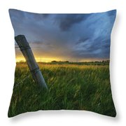 Summer Thunderstorm And Fencepost Throw Pillow