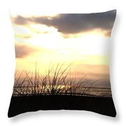 Sun Behind The Clouds On The Beach Throw Pillow