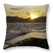 Sun Going Down Over Dubrovnik Throw Pillow