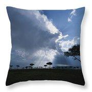 Sun Rays Break Through Clouds Throw Pillow