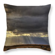 Sun Rays Through Clouds Over Three Old Throw Pillow