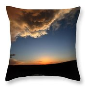 Sun Setting Behind The Horizon In Saskatchewan Throw Pillow