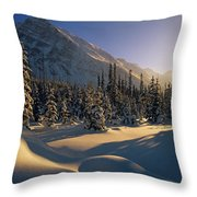 Sun Setting Behind Trees And Mountain Throw Pillow