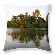 Sun Setting On The Lake Throw Pillow