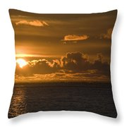 Sun Setting On The Ocean With The Throw Pillow by Michael Interisano