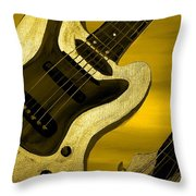 Sun Stained Yellow Electric Guitar Throw Pillow