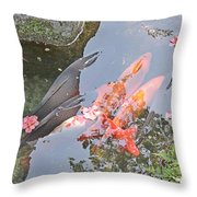 Sun Water Flowers And Fish Throw Pillow