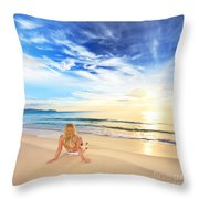 Sunbathing At Sunrise Throw Pillow