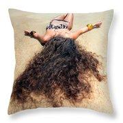 Sunbathing Woman Throw Pillow