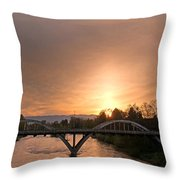 Sunburst Sunset Over Caveman Bridge Throw Pillow