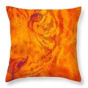 Sunburst Tiger On Fire Throw Pillow
