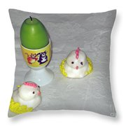 Easter Chicks And Kitties Throw Pillow