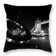 Sundial And Tower Bridge At Night Throw Pillow