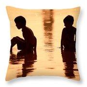 Sundown By The Bay Of Bengal II Throw Pillow