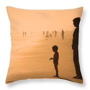 Sundown By The Bay Of Bengal Throw Pillow