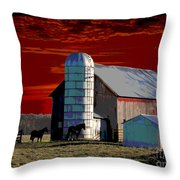 Sundown On The Farm Throw Pillow