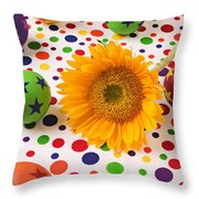 Sunflower And Colorful Balls Throw Pillow