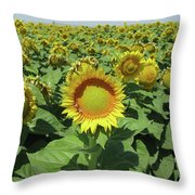Sunflower And Honeybees July Two K O Nine  II Throw Pillow