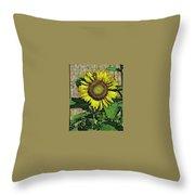 Sunflower Face Throw Pillow