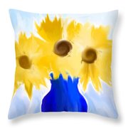 Sunflower Fantasy Still Life Throw Pillow