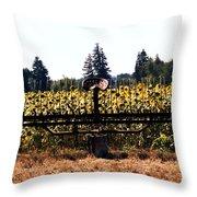 Sunflower Farm Scene Throw Pillow