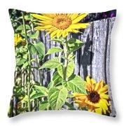 Sunflower Fence Throw Pillow