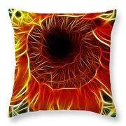 Sunflower Fractal Throw Pillow