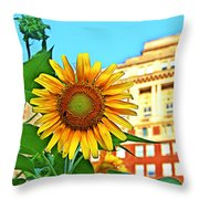 Sunflower In The City Throw Pillow