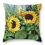 Sunflower Serenade Throw Pillow