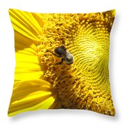 Sunflower With Bee Throw Pillow