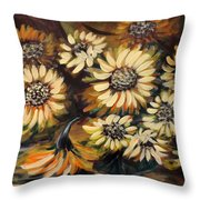 Sunflowers 12 Square Painting Throw Pillow