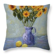 Sunflowers And Lemons Throw Pillow