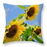 Sunflowers On Blue Throw Pillow