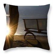 Sunlight And Bench Throw Pillow
