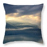 Sunlight And Clouds Over An Alpine Lake Throw Pillow
