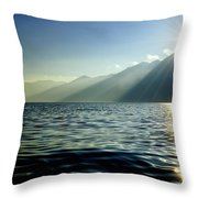 Sunlight Over A Lake With Mountain Throw Pillow