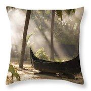 Sunlight Shining On A Canoe Throw Pillow