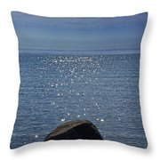 Sunlight Sparkling On The Water At Sturgeon Point Throw Pillow