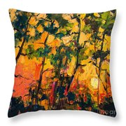 Sunset Through The Pines Throw Pillow by Ginette Callaway