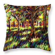 Sunlight Through The Trees Throw Pillow