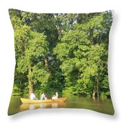 Sunny Afternoon Canoe Ride Throw Pillow