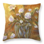 Sunny Carnations In A Vase Throw Pillow