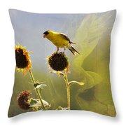 Sunny Finch Throw Pillow