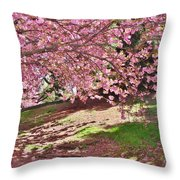 Sunny Patch Under The Cherry Trees Throw Pillow