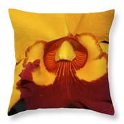 Sunny Yellow Orchid Throw Pillow