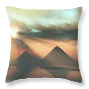 Sunrays Shine Down On Three Pyramids Throw Pillow