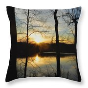 Sunrise Along The Delaware River Throw Pillow